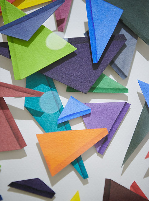Mia Holton Triangles painting close up