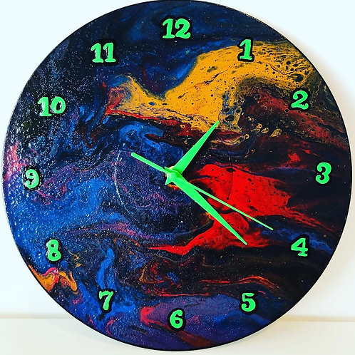 Multicoloured and Green clock