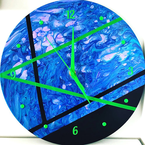 Green, blue and black clock
