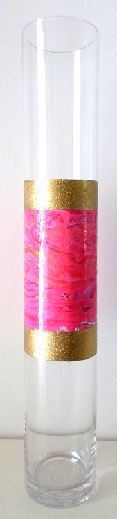 Pink with gold border glass vase