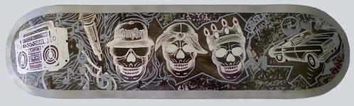 Old Skool Skulls skateboard deck