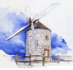 Moulin à vent - aquarelle