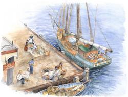 Aquarelle port normand autrefois