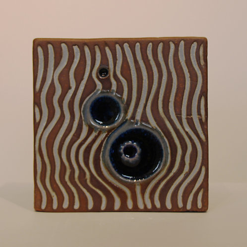 Small Stoneware Cube with Blue Glass