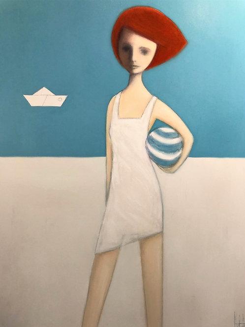Beach Girl in a White Dress