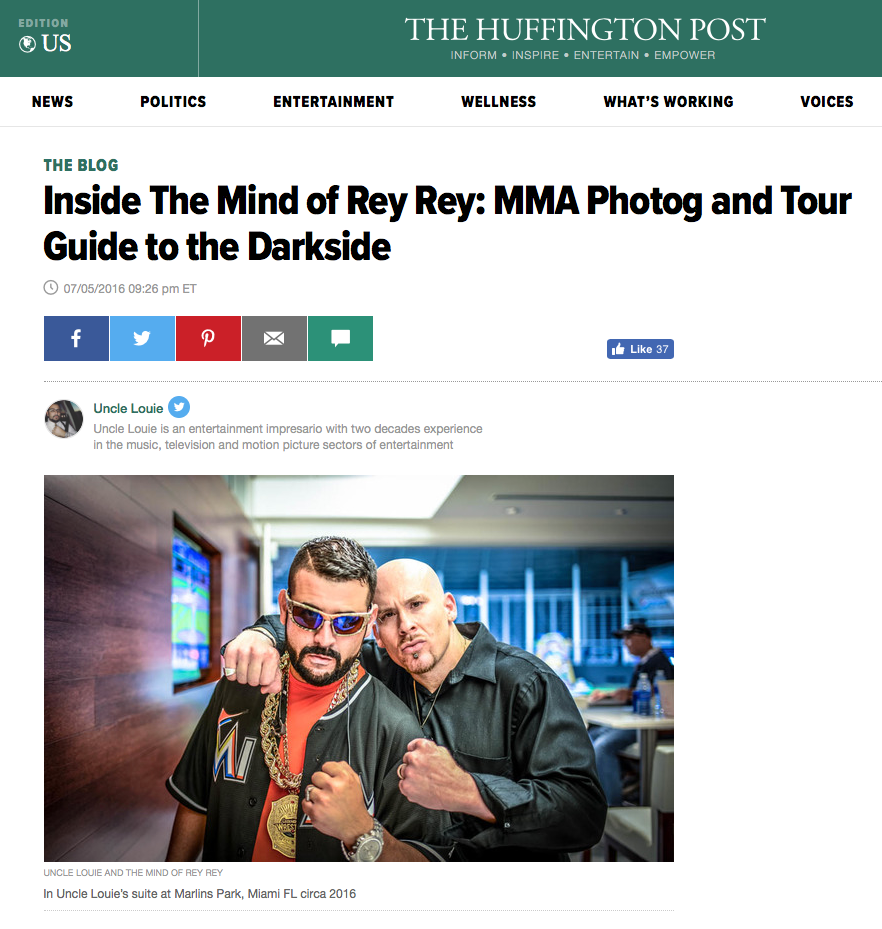 The most popular The Mind of Rey Rey photographer gets featured on The Huffington Post for his MMA and Dark Photography