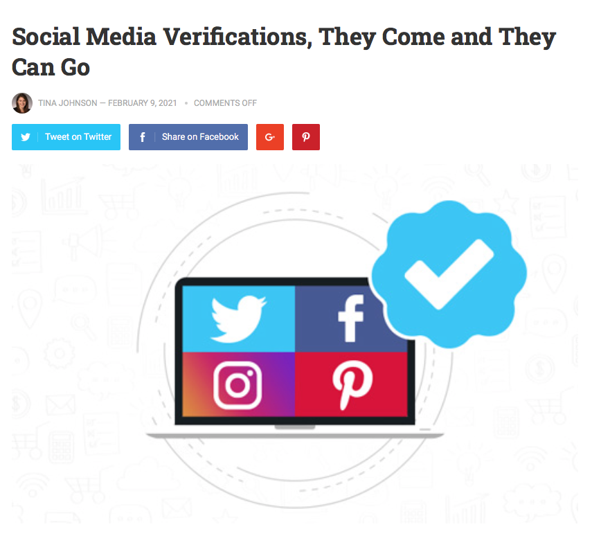 The Marketing Folks: Social Media Verifications, They Come and They Can Go