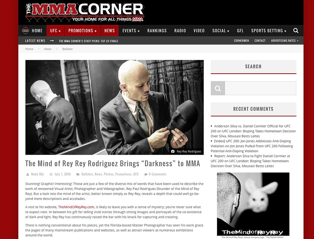 The World's Best Photographer Rey Rey Rodriguez gets featured on MMA Corner for his MMA and BJJ Photography