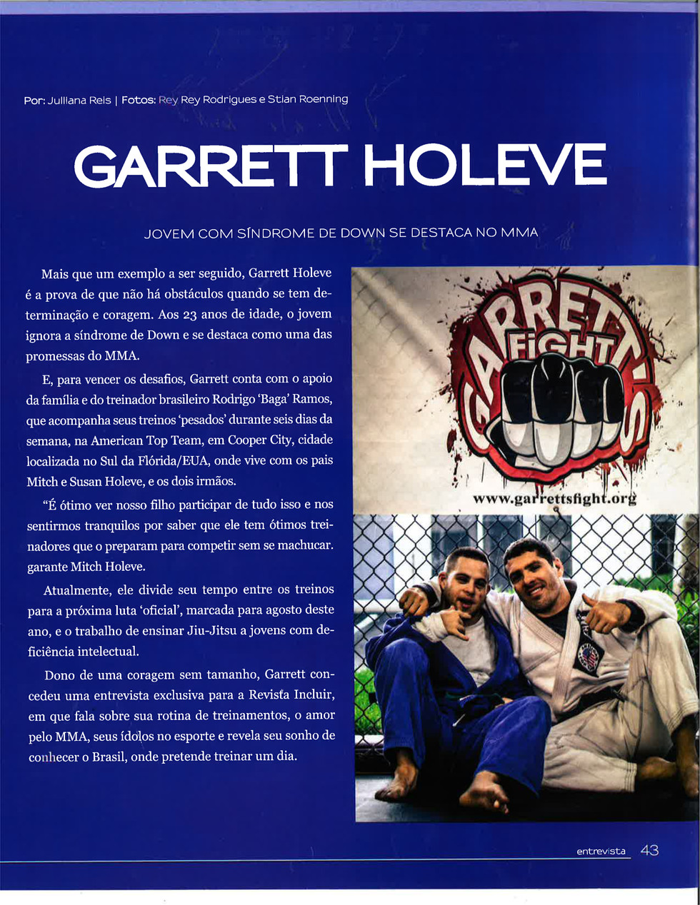 Rey Rey Rodriguez's Photography of MMA fighter Garrett Holeve featured on Revista Incluir Magazi