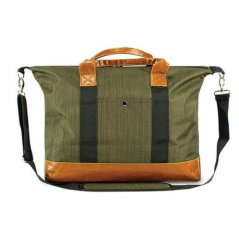 Skunk Weekender Bag- Green/Brown Leather