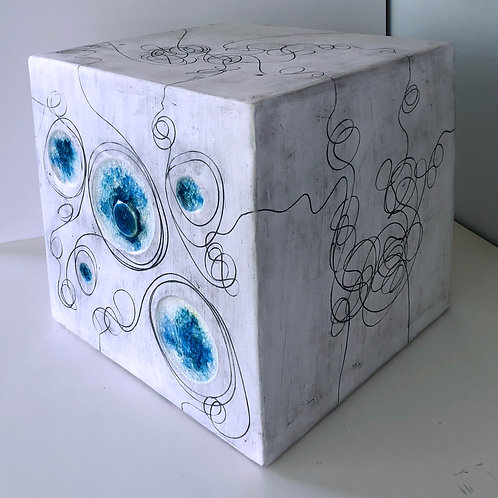 Large Cube with Blue and White Glass