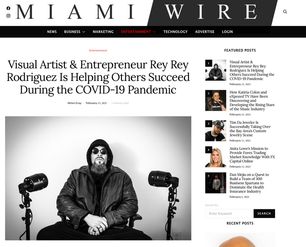 Miami Wire: Visual Artist & Entrepreneur Rey Rey Rodriguez is Helping Others During the COVID-19