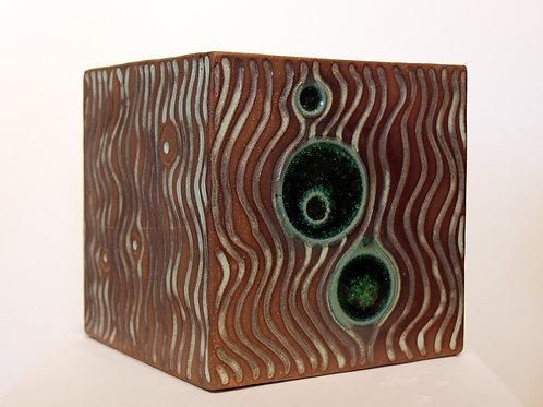 Medium Stoneware Cube with Green Glass