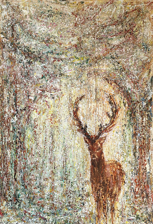 """""""Serendipity-Red Stag in Clearing""""Oils and gilt on board.Framed, glazed original"""