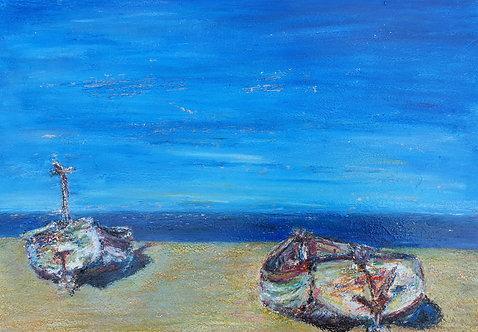 """""""Aldeburgh in Lockdown"""" Oils and gilt on board. Framed,  glazed original"""