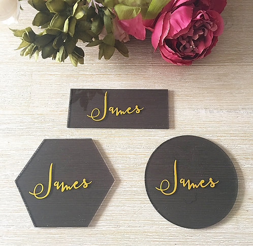 BLACK ACRYLIC PLACE CARDS