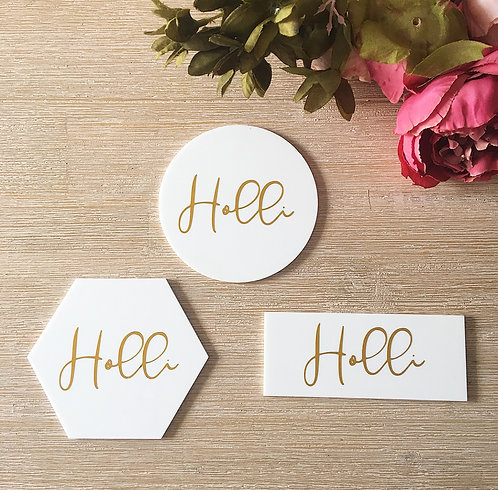 WHITE ACRYLIC PLACE CARDS