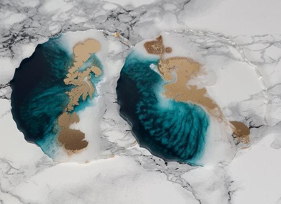Agate 'Ombré Clouds' Round Coaster