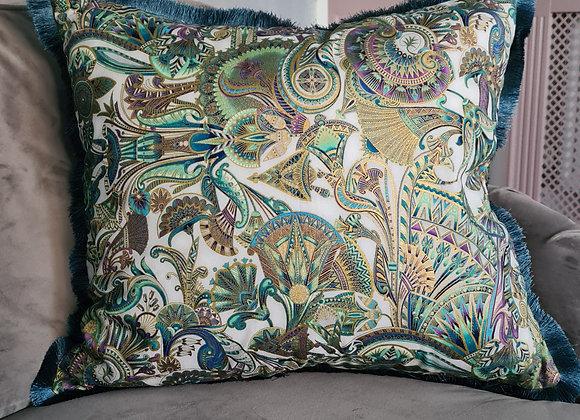 Jewel Opal Fringe Cushion Cover