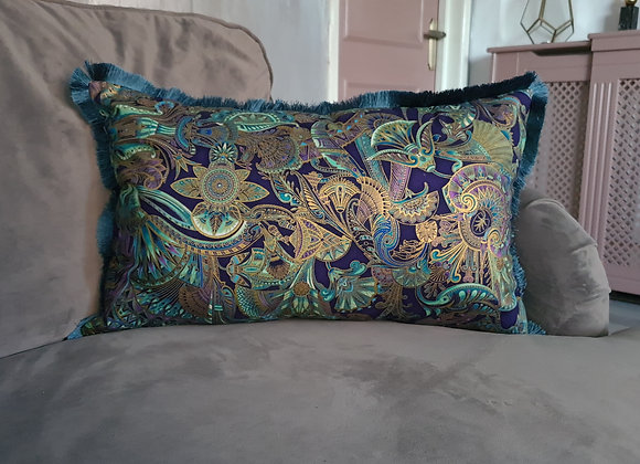 Jewel Purple Fringe Cushion Cover