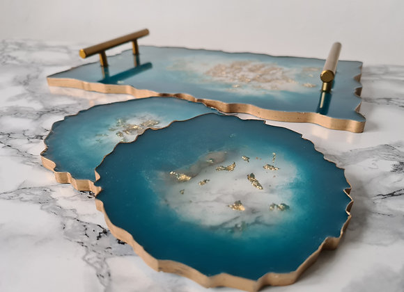 Round Agate Deep Turquoise, Pink & Gold Coaster Set