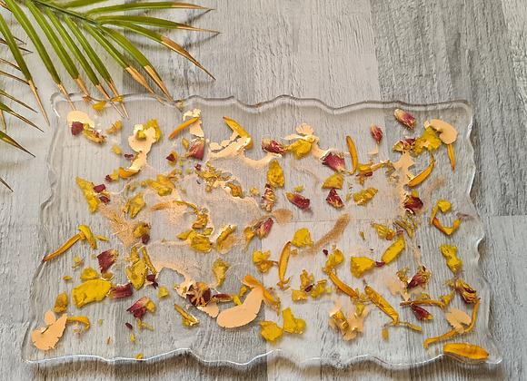 Agate 'Petals & Gold' Tray