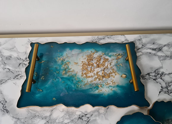Deep Turquoise, Pink and Gold Agate Tray