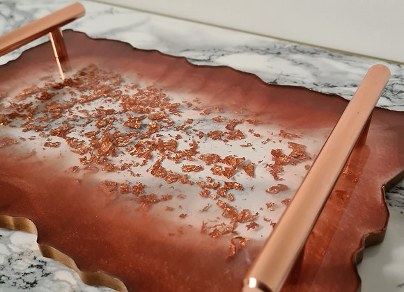 Copper, Rose Gold, Cotton White Agate Tray