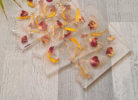 Agate Slice 'Petals & Gold' Coaster