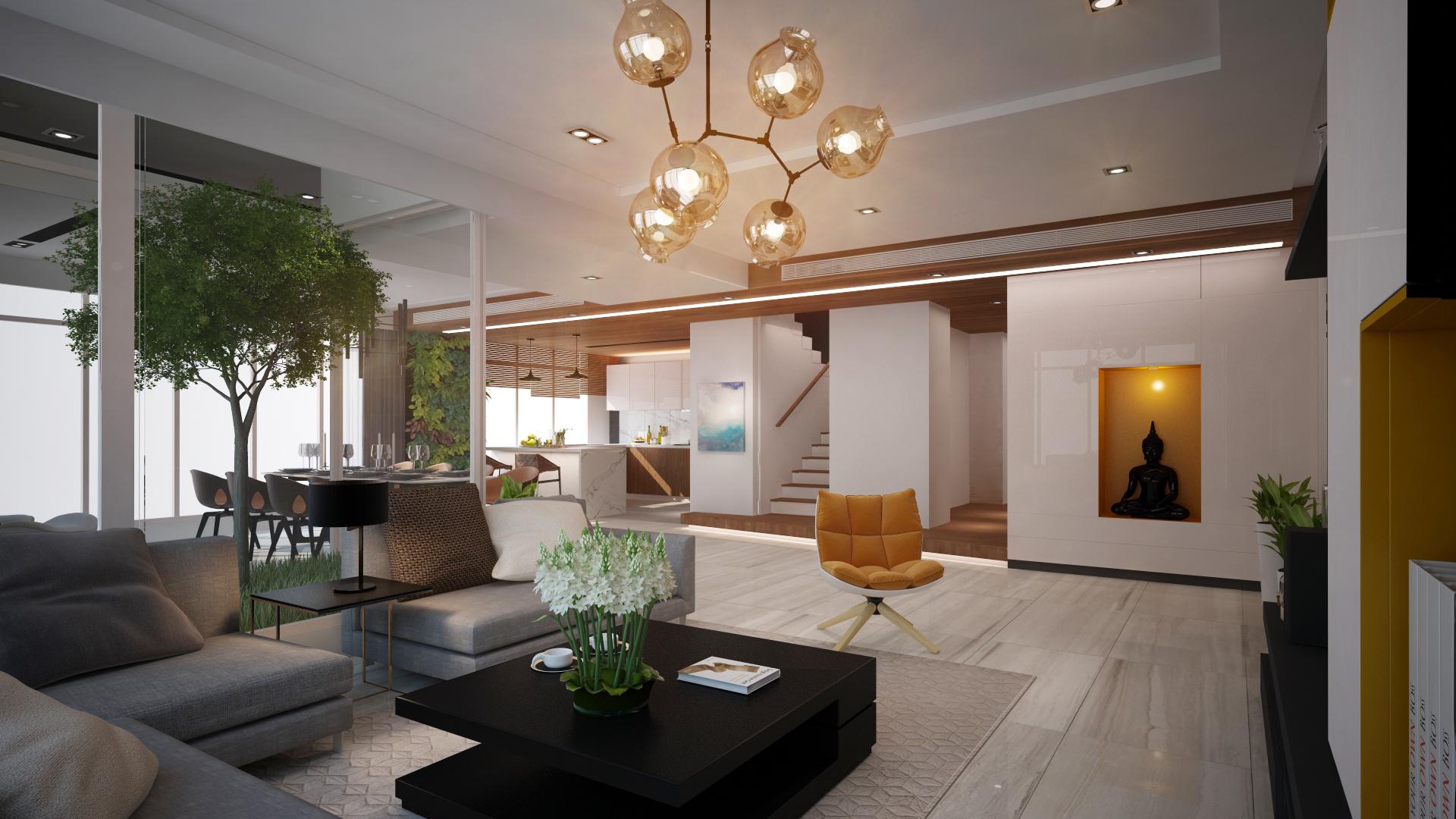 Livingroom,Diningroom & Kitchen Area