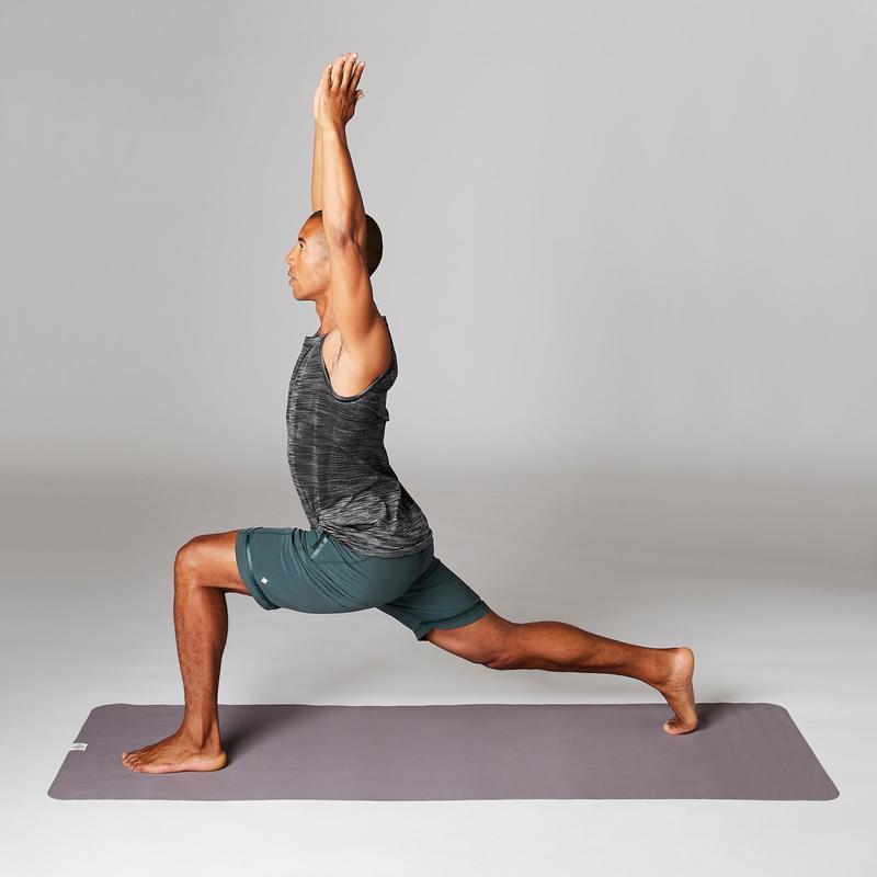 short_yoga_dynamique_homme_en_toile_vert