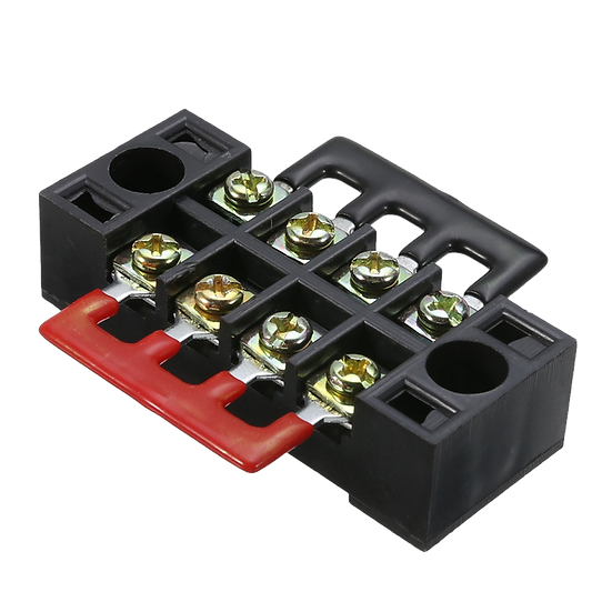 4 pole Wire barrier Terminal Block + 2 Connector Strips