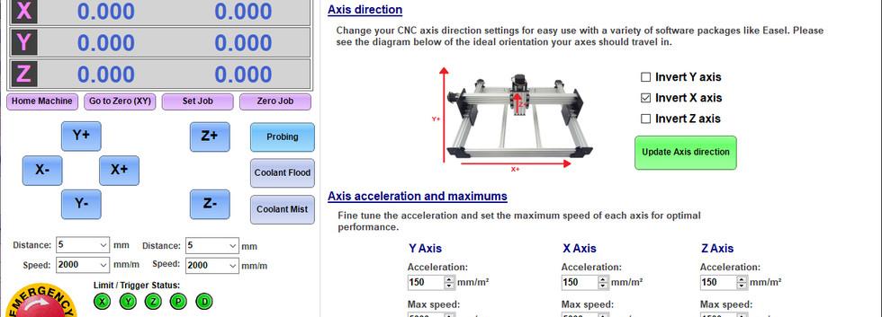 Axis setup