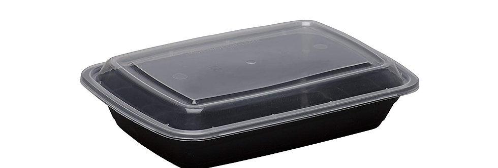 BLACK BASE RECTANGULAR CONTAINER INC LIDS (28oz - 300 PER BOX))