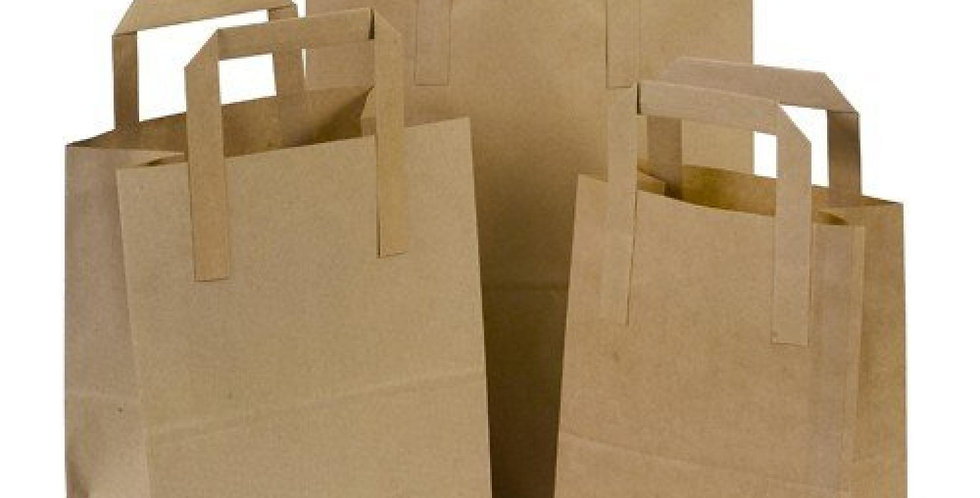 KRAFT HANDLED CARRIER BAGS SMALL (250 PER BOX)