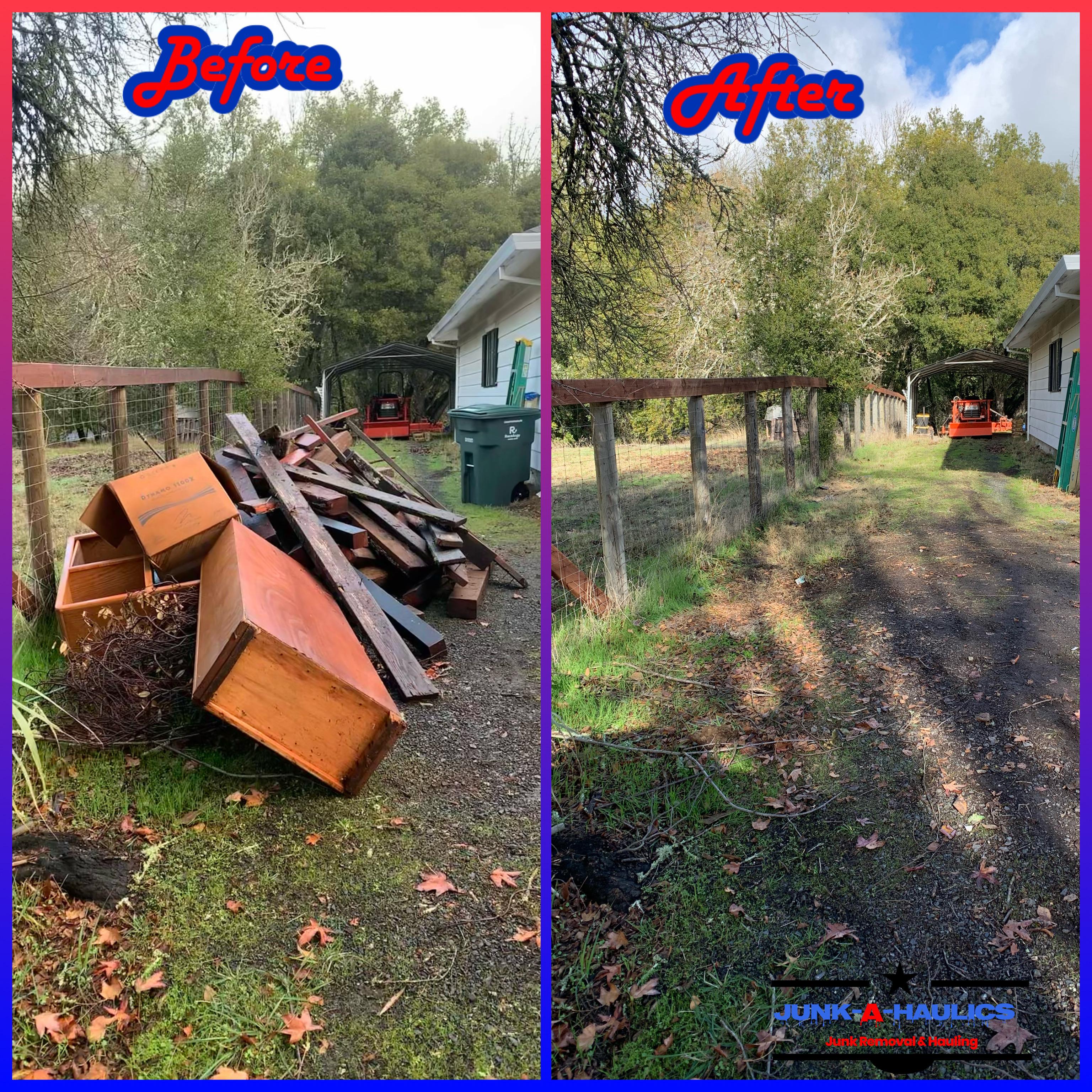 Side yard junk removal in Glen Ellen CA