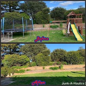 Play structure removal and trampoline re