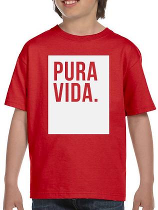 Kid's Red T Shirt Pura Vida Block