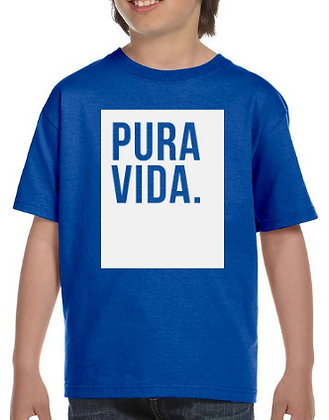 Kid's Blue T Shirt Pura Vida Block