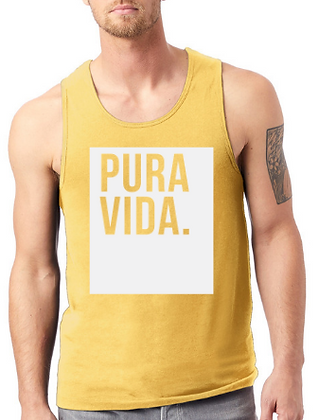 Men's Gold Tank Top Pura Vida Block