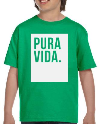 Kid's Green T Shirt Pura Vida Block