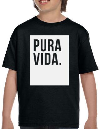 Kid's Black T Shirt Pura Vida Block