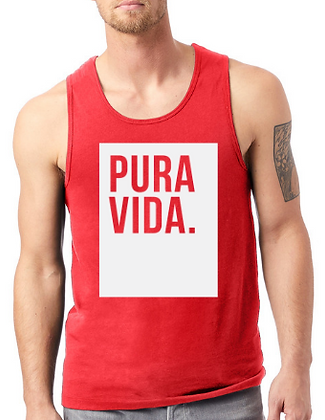 Men's Red Tank Top Pura Vida Block