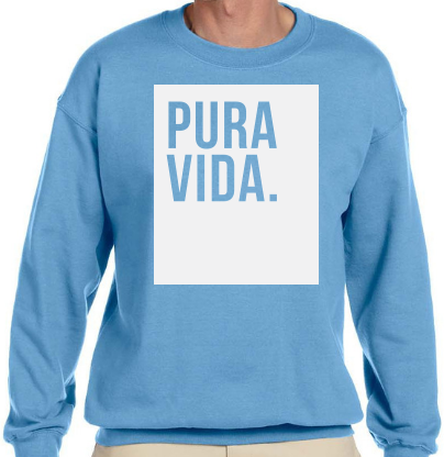 "Pura Vida ""Block"" Crewneck Gateway Blue Sweatshirt"