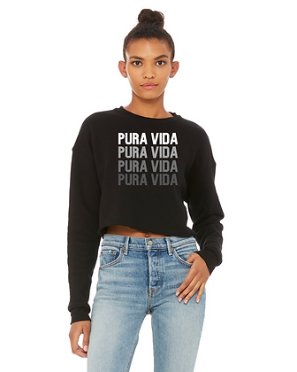"Black ""On Repeat"" Pura Vida Cropped Sweatshirt"