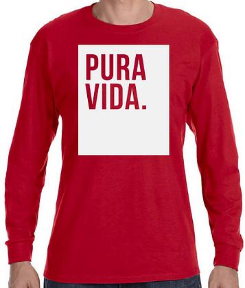 """Pura Vida """"Block"""" Long Sleeve Shirt Red"""