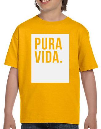 Kid's Gold T Shirt Pura Vida Block