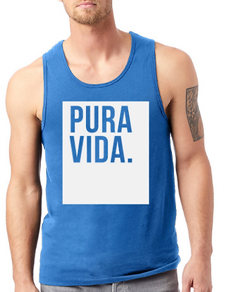 Men's Blue Tank Top Pura Vida Block