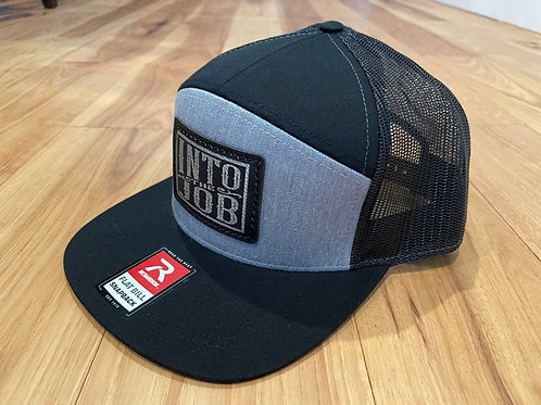 Into the Job Leather Patch 7 panel Flatbill HAT (Grey/Black)