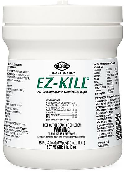 EZ-KILL® Quat Alcohol Cleaner Disinfectant Wipes (12 Containers)